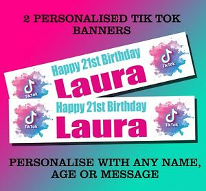 2 PERSONALISED TIK TOK BANNERS BIRTHDAY PARTY - ANY NAME, ANY AGE WHITE