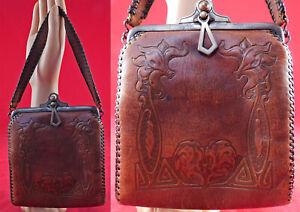Vintage Spanish Craft Bags Hand Tooled Steerhide Leather Arts & Crafts Purse