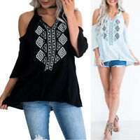 Women Cold Shoulder Shirt Tassel Lace Up Casual V-Neck Blouse Loose Tops T Shirt