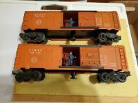 LIONEL POSTWAR OPERATING BOXCAR ATSF 3484-25 Lot of 2