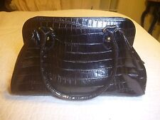 Leather Handbag, Crocodile Embossed print, Black with zip top, NWOT