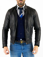 ★Giacca Giubbotto Uomo in di PELLE 100% Men Leather Jacket Veste Homme Cuir Q63a