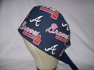 Men/Women Surgical Scrub Cap Lined Atlanta Braves MLB 100% Cotton