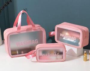 Clear Stylish Toiletry Bag Waterproof Cosmetic organizer Beach Travel Carry Big