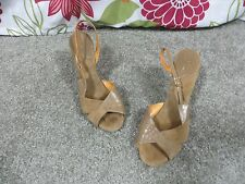 Kis of California Dark Tan Leather Open Toe Shoes with Wooden Platform Heel, 9.5