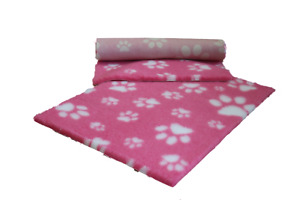VETFLEECE Non Slip Deep Pile Fleece Vet Bed Roll Dog Cat Cage Pink White Paws