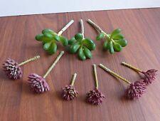 Set of 9 Pieces Miniature Artificial Succulents Grass
