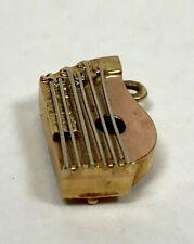 Unique Vintage 14k Yellow & Rose Gold Dulcimer Harp Zither Instrument Charm