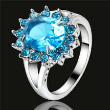 Women's Oval Blue Aquamarine Wedding Ring 18K White Gold Filled Jewelry Size 9