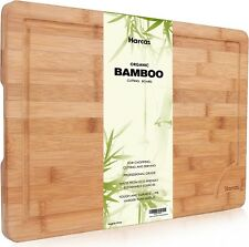 Premium Organic Bamboo Chopping Board by Harcas. Extra Large Size Cutting Board