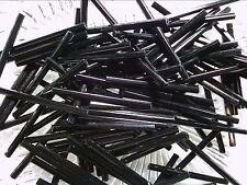 Vtg 300 BLACK FACETED 30 mm GLASS BUGLES OLD HEXAGON #072711w