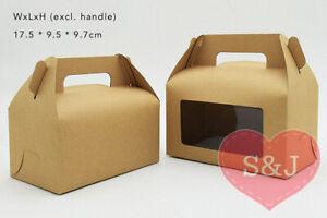 10x Large Kraft Box 17x9.5x9.7cm Cardboard Gable Window Cake Lunch Container
