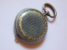 ANTIQUE SOLID SILVER AND ENAMEL MINIATURE POCKET WATCH CASE.