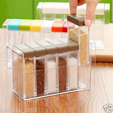 6PCs Set Kitchen Seasoning Pepper Salt Condiment Cruet Storage Standd Box