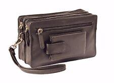 Mens Soft Leather Wrist Bag BLACK Travel Mobile Money Clutch Pouch Grab Handbag