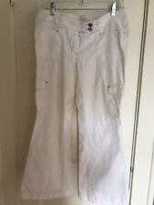 Sz 8 Noir White House Black Market White Embellished Pants Cotton Boot Leg