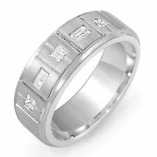 0.50 Ct Men's Princess Baguette Diamond Wedding Ring Band 14k Gold White Sz 11.5