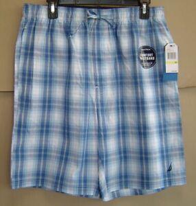 NWT $34 NAUTICA Mens M LIGHT HAZE BLUE PLAID Woven Sleep Shorts Cotton Pajamas