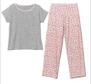 AVON Ladies Womens Short Sleeve Heart Print PJs Pyjamas Set Size 12 14 16 18 20