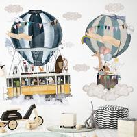 Cartoon Hot Air Balloon Animal Wall Sticker Nursery Kids Room Decal Art Mural