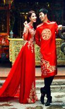 ao dai co dau, ao dai cuoi, Vietnamese traditional long dress ao dai with pants