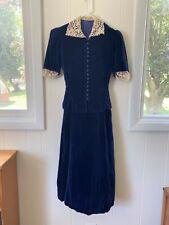 Vintage 1930's Blue Silk Velvet Blouse Skirt Set Separates Dress XS S