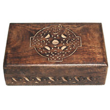 """NEW Celtic Cross Carved Wood Box 4x6"""" Wooden Chest Tarot, Herbs or Trinkets"""
