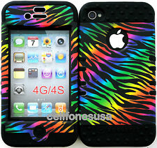 Hybrid Silicone Cover Case Skin IPHONE 4 4S Black Rainbow Zebra on Black