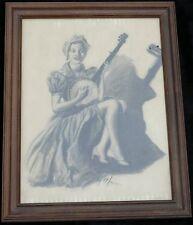 FOLK ART PENCIL CHARCOAL DRAWING PIN UP WOMAN PLAYING BANJO 1930'S