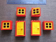 LEGO 6 grandi finestre e porte con cornici e persiane-Rosso e Giallo in buonissima condizione