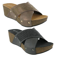 Summer Wedge Jewelled Mule Womens Sandals Cross Over Fashion Shoes UK3-8