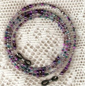 """Eyeglass Chain~Purple Mix~4mm Crystals~Mothers Day Gift~28""""~NEW~Buy 3 SHIP FREE"""