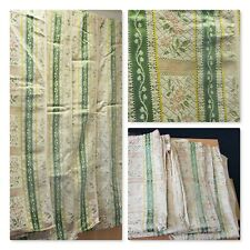 "4 x Vintage Green Flower Design Curtains 42"" Width 37"" Drop Fabric Floral Camper"