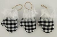 "Christmas Buffalo Check Plaid Mittens Fabric Ornaments Black White 5"" Set of 3"
