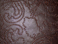 """Perforated Brown Orange back) Lambskin Leather Scrap 9.5""""x15"""" 0.6mm thick #5677"""