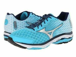 New Mizuno Wave Rider 18 Blue Silver Running Shoes Womens Sz 9 Wide
