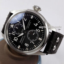 47mm parnis black dial leather power reserve seagull automatic mens watch P95