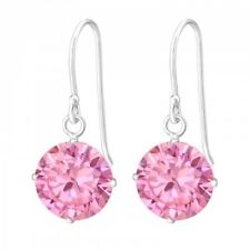 Round Drop/Dangle Earrings (Des 4) 925 Sterling Silver Pink Cubic Zirconia