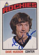 Dave Hudson Signed 1976-77 O-Pee-Chee OPC Card #299 Colorado Rockies