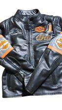 Harley Davidson Screaming Eagle Biker Real Cowhide Plain Leather Jacket Men