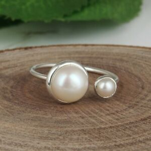 Natural Fresh Pearl Adjustable Ring Solid 925 Silver Engagement Ring Jewelry