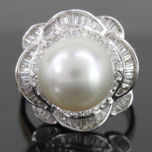 7-8mm real natural south sea white bread pearl ring 925 silver(w) Details about  /Stunning AAA