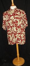 PIERRE CARDIN Men's Hawaiian Camp Shirt Large 48 Chest SS Red Gray Flowers Rayon