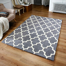 Moroccan Tile Rugs In Grey & Cream Modern Handmade Wool Rugs 120X170CM
