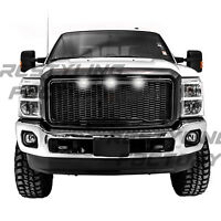 11-16 Ford Super Duty Raptor Gloss Black Front Hood Mesh Grille+Shell+White LED