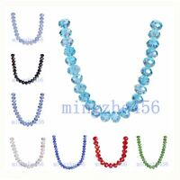8x6mm Rondelle Faceted Crystal Glass Loose Spacer Colorized Beads Charms