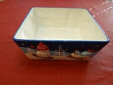 ST NICHOLAS SQUARE HOLIDAY SNOWMAN LET IT SNOW LARGE SQUARE SERVING BOWL NEW