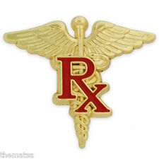 RX PHARMACIST CADUCEUS MEDICAL GOLD BADGE PIN