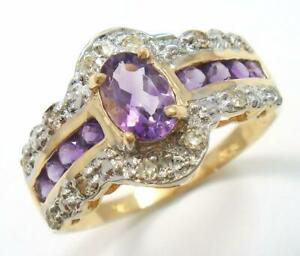 SYJEWELLERY 9CT YELLOW GOLD NATURAL OVAL AMETHYST & DIAMOND RING SIZE N R827