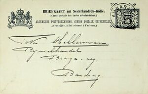 NETHERLANDS INDIES 1908 5c OVPT ON 7½c UPU POSTAL CARD FROM AMBARAWA TO BANDUNG